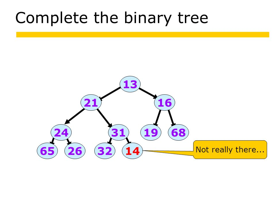 Complete the binary tree 13 2665 24 32 316819 16 14 Not really there... 21