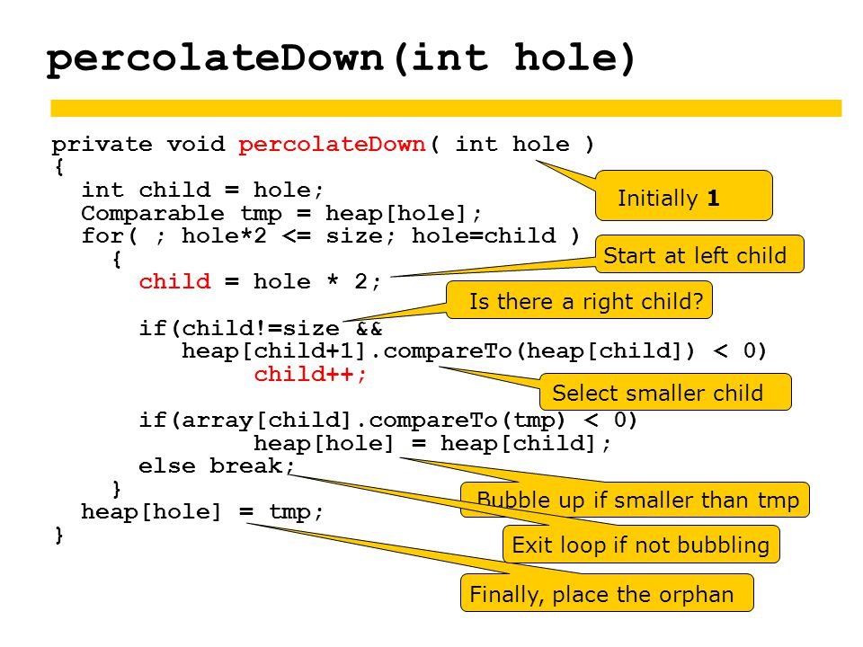 percolateDown(int hole) private void percolateDown( int hole ) { int child = hole; Comparable tmp = heap[hole]; for( ; hole*2 <= size; hole=child ) { child = hole * 2; if(child!=size && heap[child+1].compareTo(heap[child]) < 0) child++; if(array[child].compareTo(tmp) < 0) heap[hole] = heap[child]; else break; } heap[hole] = tmp; } Is there a right child.