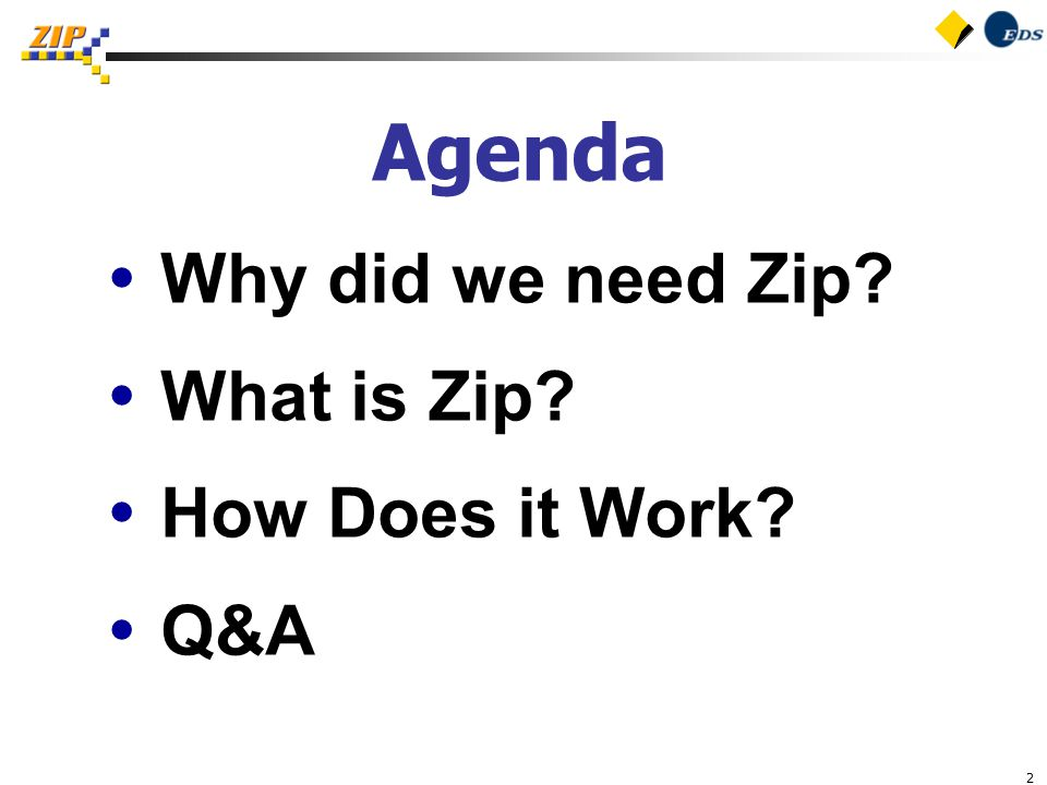 2 Agenda  Why did we need Zip  What is Zip  How Does it Work  Q&A