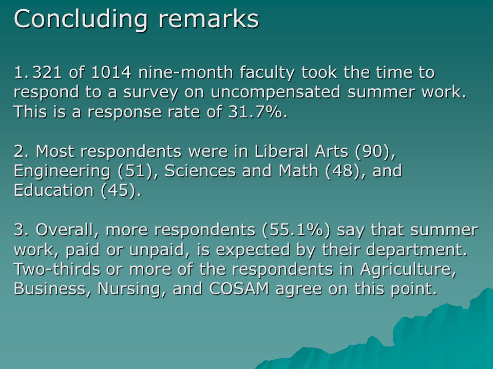 Concluding remarks 1.321 of 1014 nine-month faculty took the time to respond to a survey on uncompensated summer work.