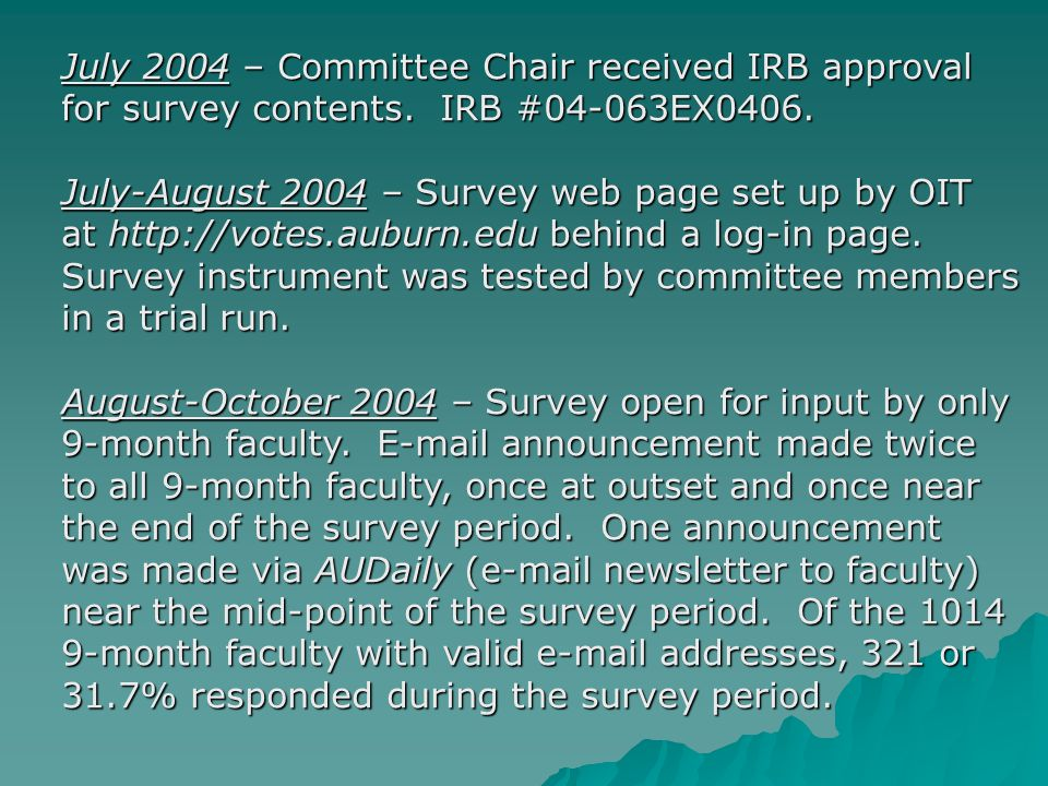 July 2004 – Committee Chair received IRB approval for survey contents.