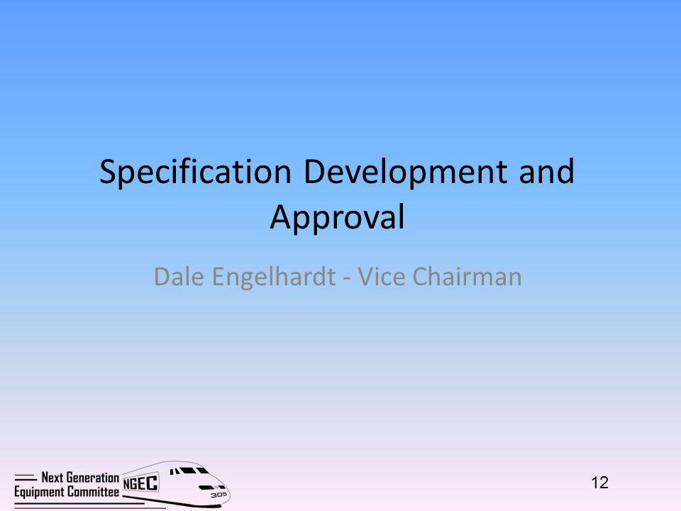 Specification Development and Approval Dale Engelhardt - Vice Chairman 12