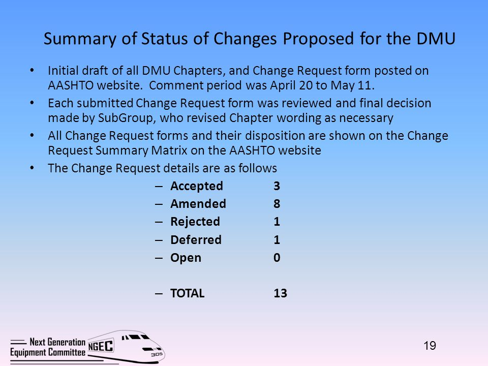Summary of Status of Changes Proposed for the DMU Initial draft of all DMU Chapters, and Change Request form posted on AASHTO website.