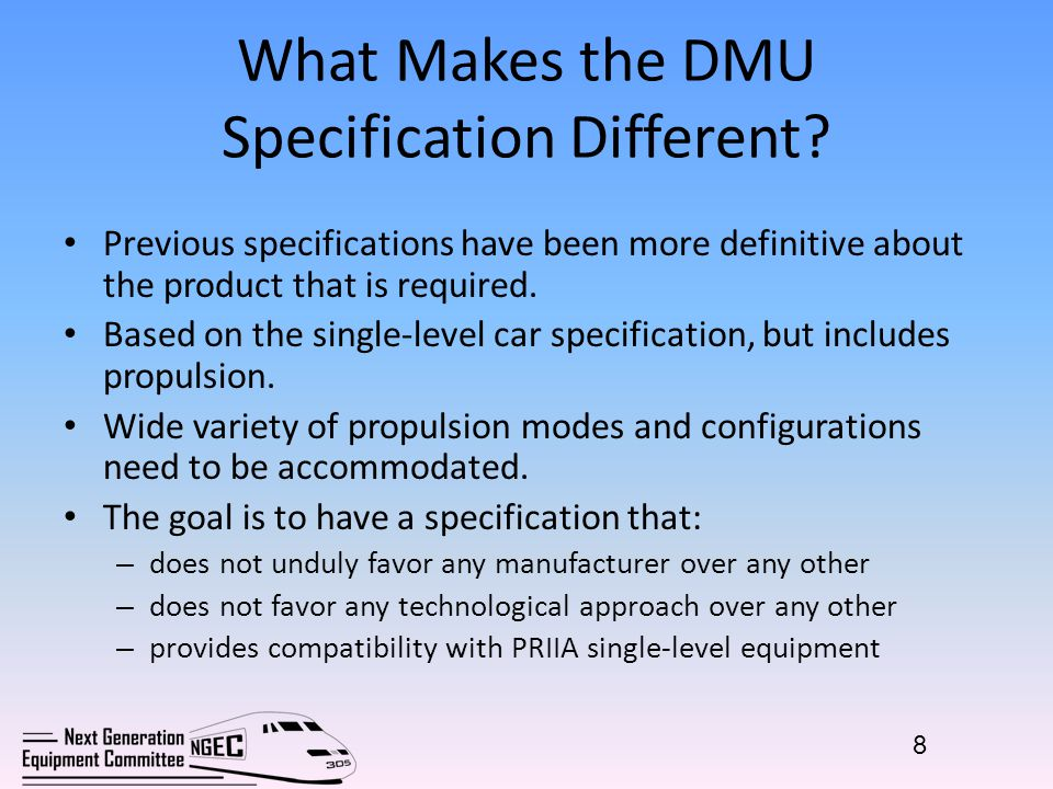 What Makes the DMU Specification Different.