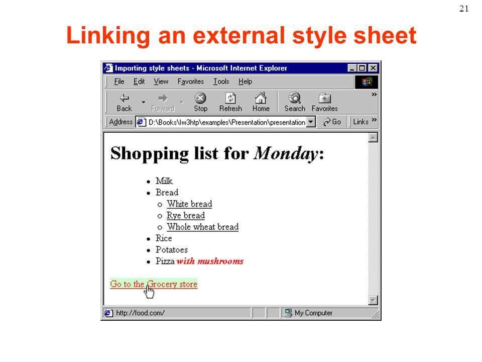 21 Linking an external style sheet