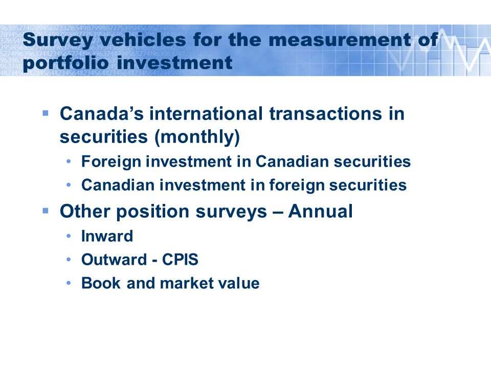 Survey vehicles for the measurement of portfolio investment  Canada's international transactions in securities (monthly) Foreign investment in Canadian securities Canadian investment in foreign securities  Other position surveys – Annual Inward Outward - CPIS Book and market value