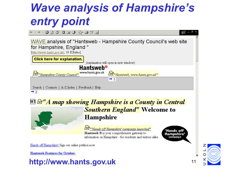 11 Wave analysis of Hampshire's entry point http://www.hants.gov.uk