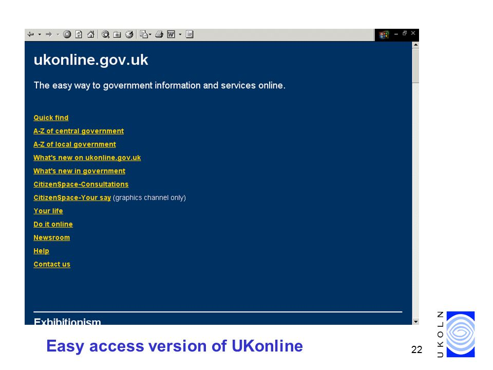 22 Easy access version of UKonline