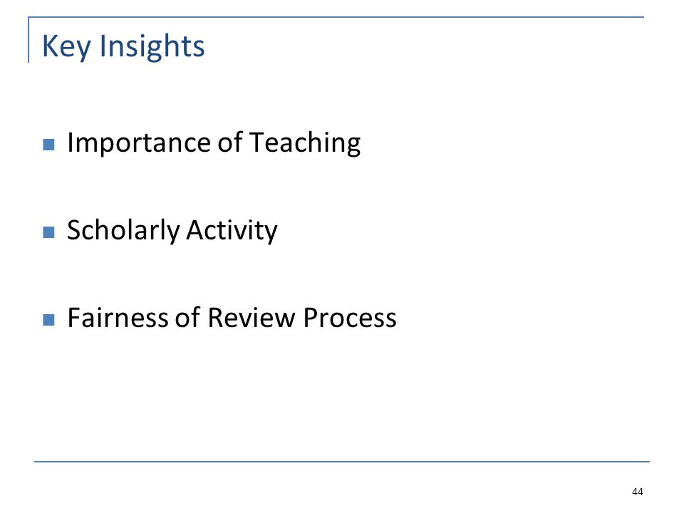 Key Insights Importance of Teaching Scholarly Activity Fairness of Review Process 44