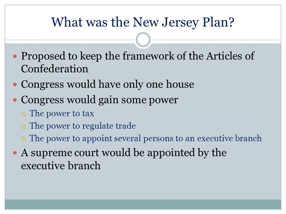 What was the New Jersey Plan? Proposed to keep the framework of the Articles of Confederation Congress would have only one house Congress would gain s