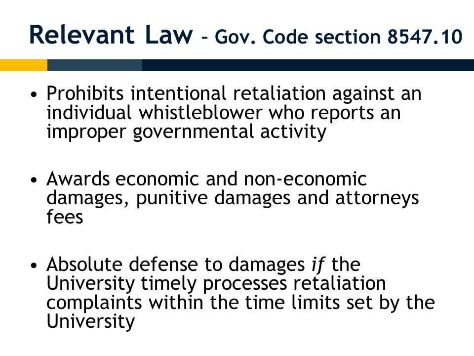 University Policy University of California Policy on Reporting and Investigating Allegations of Suspected Improper Governmental Activities (Whistleblower Policy) (April 2, 2008) – –http://www.ucop.edu/ucophome/coordrev/ policy/PP040208Policy.pdfhttp://www.ucop.edu/ucophome/coordrev/ policy/PP040208Policy.pdf