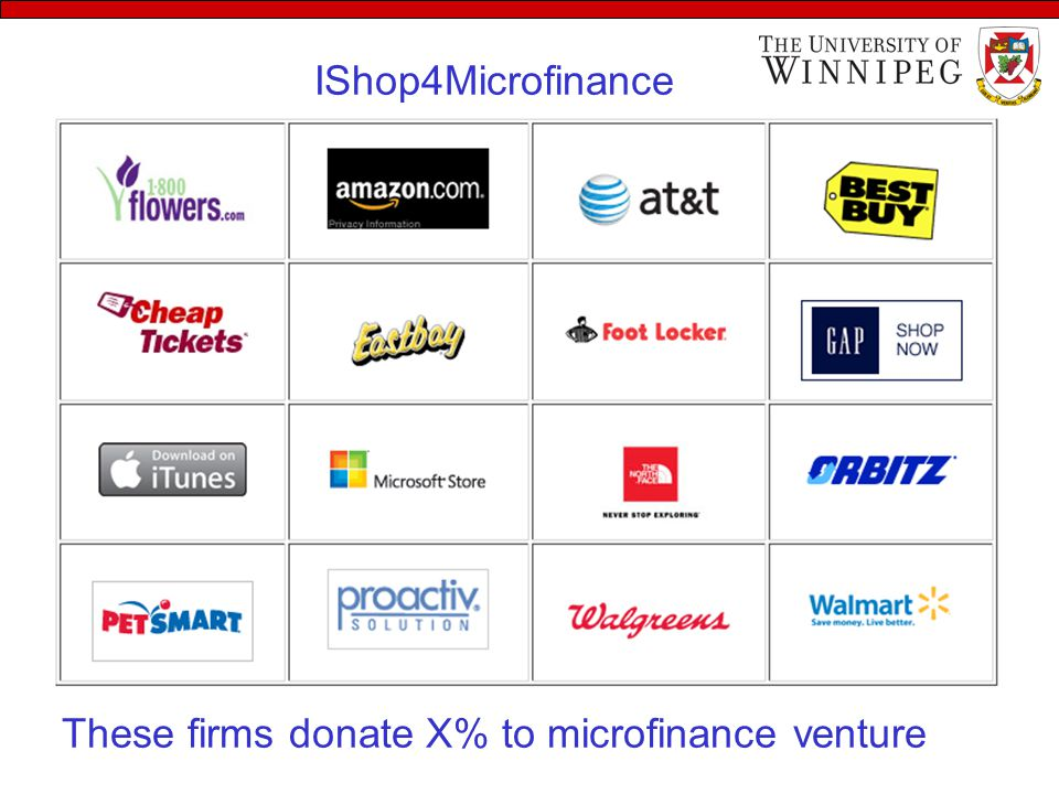 These firms donate X% to microfinance venture IShop4Microfinance