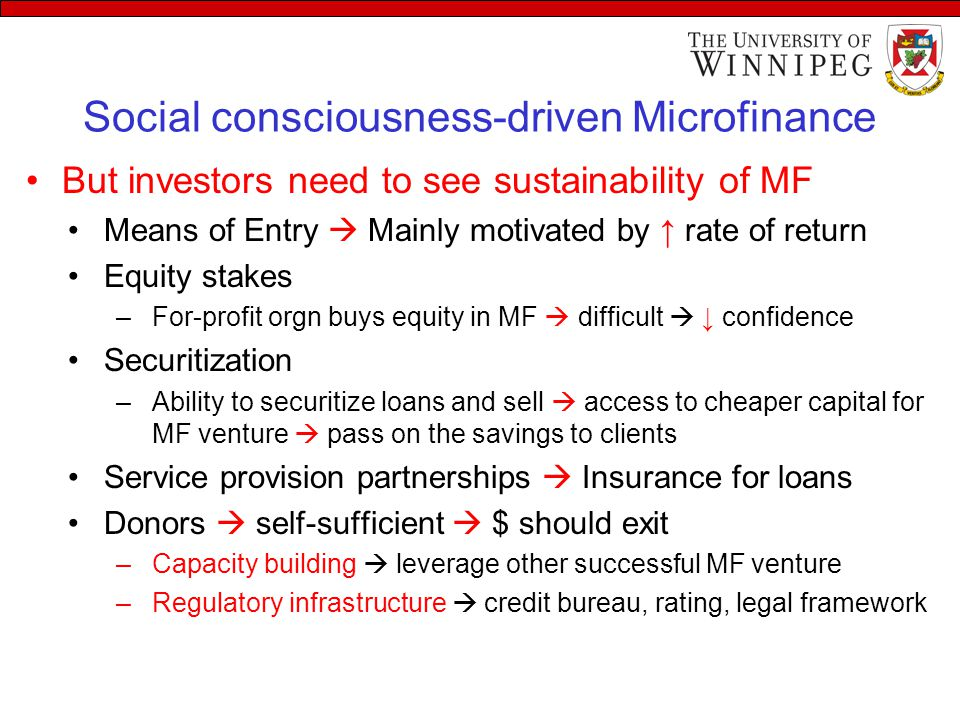 Social consciousness-driven Microfinance But investors need to see sustainability of MF Means of Entry  Mainly motivated by ↑ rate of return Equity s