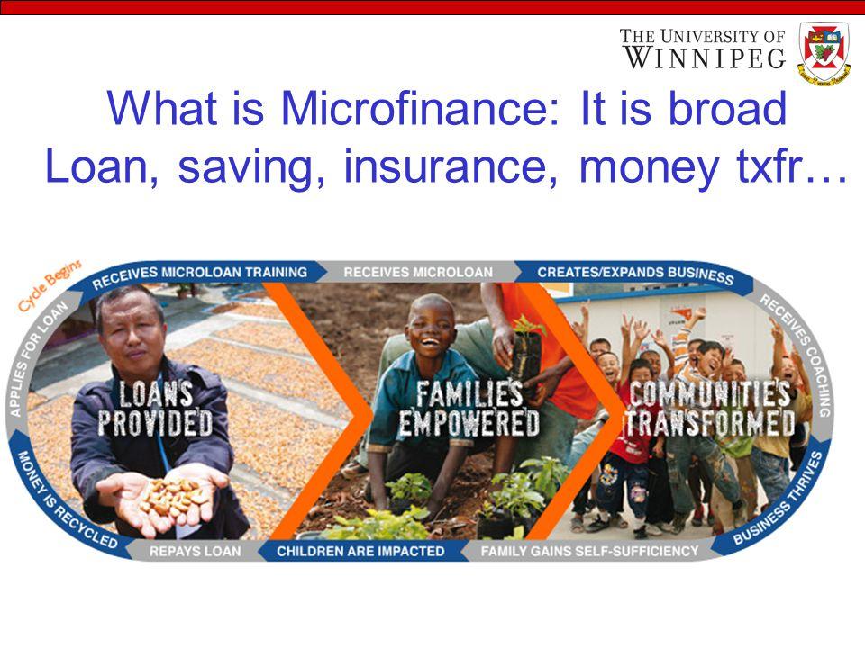 What is Microfinance: It is broad Loan, saving, insurance, money txfr…