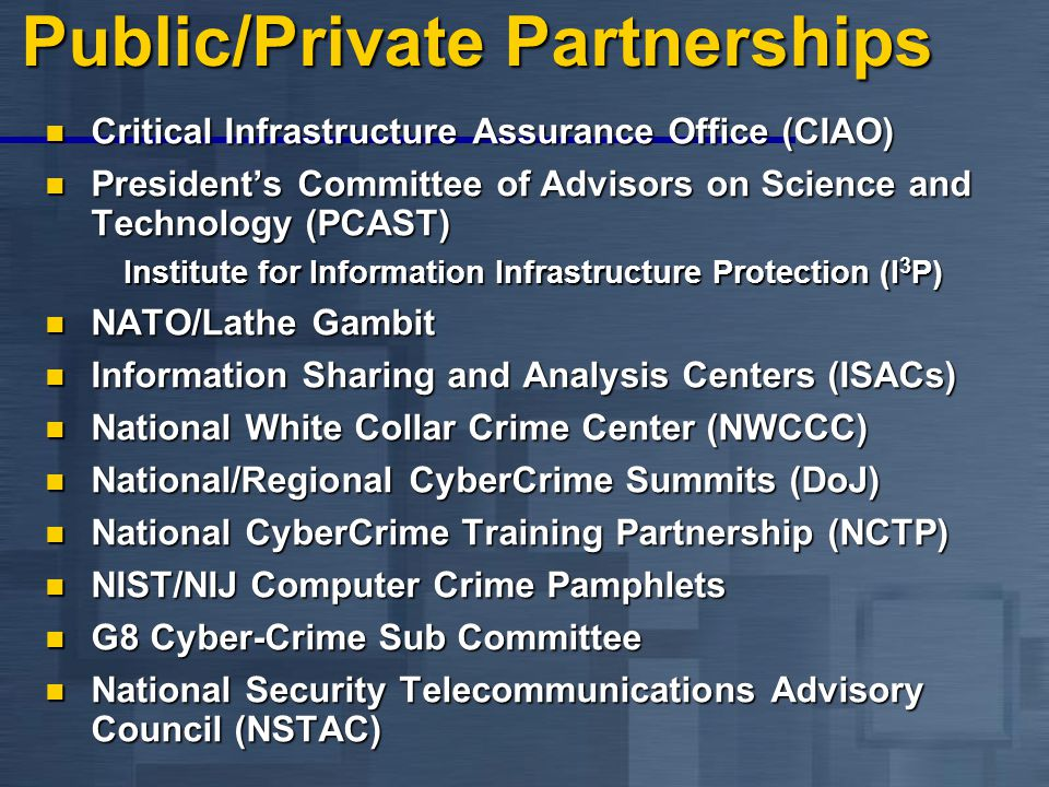 Public/Private Partnerships Critical Infrastructure Assurance Office (CIAO) Critical Infrastructure Assurance Office (CIAO) President's Committee of Advisors on Science and Technology (PCAST) President's Committee of Advisors on Science and Technology (PCAST) Institute for Information Infrastructure Protection (I 3 P) NATO/Lathe Gambit NATO/Lathe Gambit Information Sharing and Analysis Centers (ISACs) Information Sharing and Analysis Centers (ISACs) National White Collar Crime Center (NWCCC) National White Collar Crime Center (NWCCC) National/Regional CyberCrime Summits (DoJ) National/Regional CyberCrime Summits (DoJ) National CyberCrime Training Partnership (NCTP) National CyberCrime Training Partnership (NCTP) NIST/NIJ Computer Crime Pamphlets NIST/NIJ Computer Crime Pamphlets G8 Cyber-Crime Sub Committee G8 Cyber-Crime Sub Committee National Security Telecommunications Advisory Council (NSTAC) National Security Telecommunications Advisory Council (NSTAC)