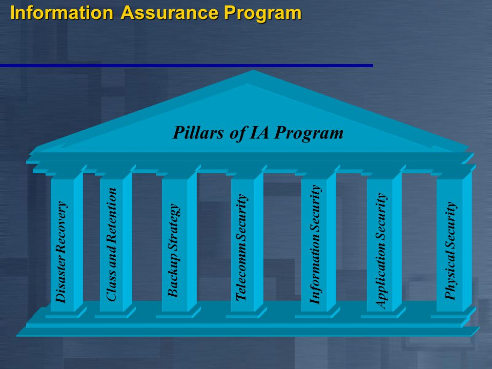 Pillars of IA Program Disaster Recovery Backup Strategy Telecomm Security Physical Security Application Security Telecomm Security Information Security Information Assurance Program Class and Retention