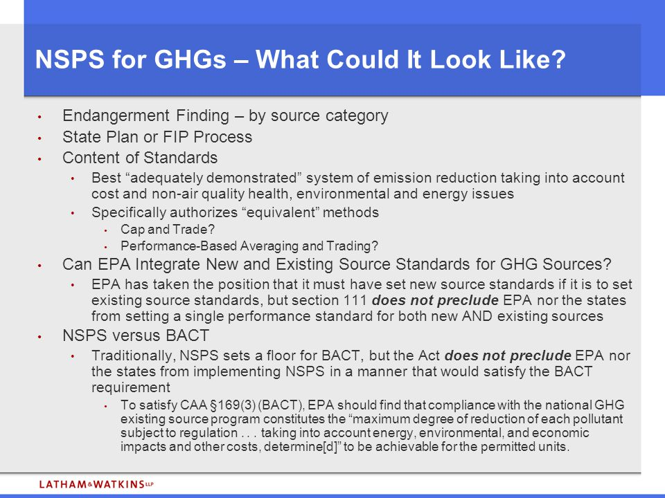 NSPS for GHGs – What Could It Look Like.