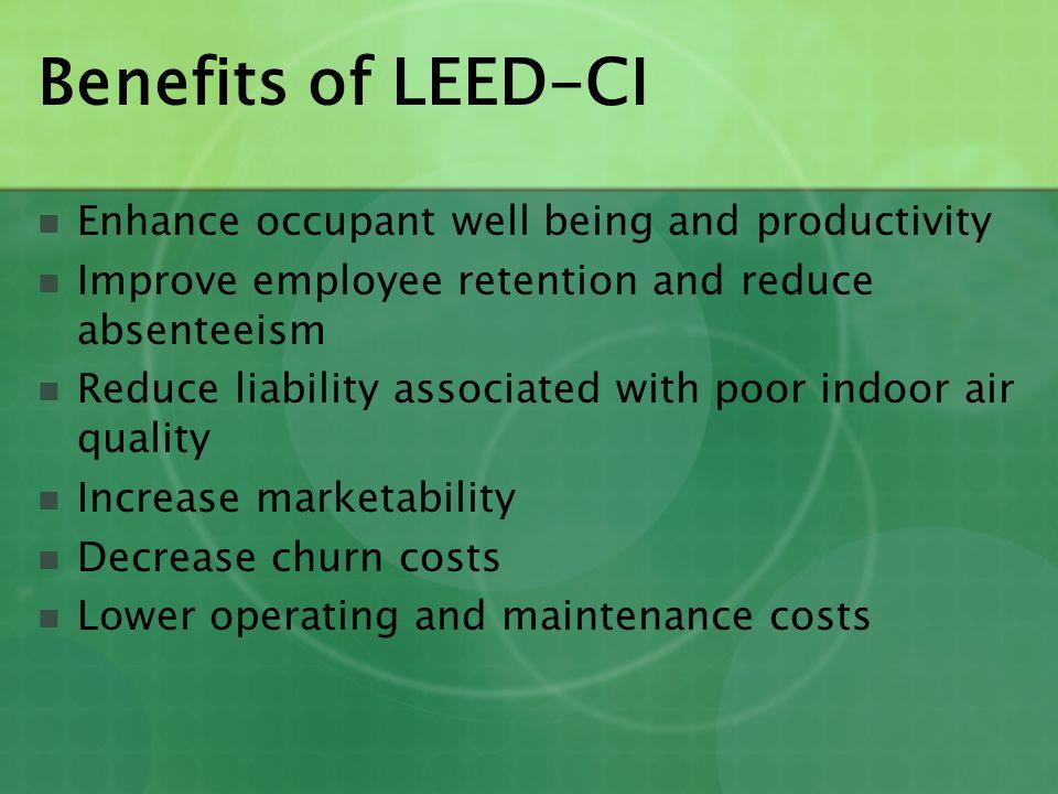 LEED-CI Certification Levels PointsLevels 21 - 26Certified 27 - 31Silver 32 - 41Gold 42 - 57Platinum