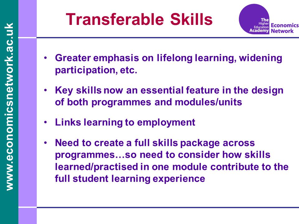 www.economicsnetwork.ac.uk www.economics.ltsn.ac.uk Transferable Skills Greater emphasis on lifelong learning, widening participation, etc.