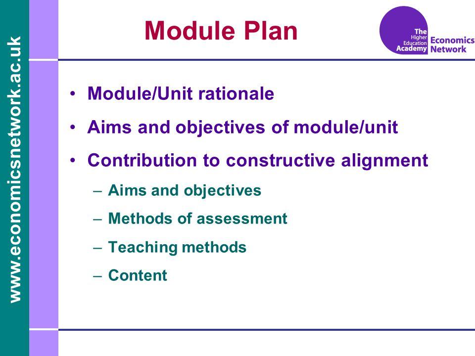 www.economicsnetwork.ac.uk www.economics.ltsn.ac.uk Module Plan Module/Unit rationale Aims and objectives of module/unit Contribution to constructive