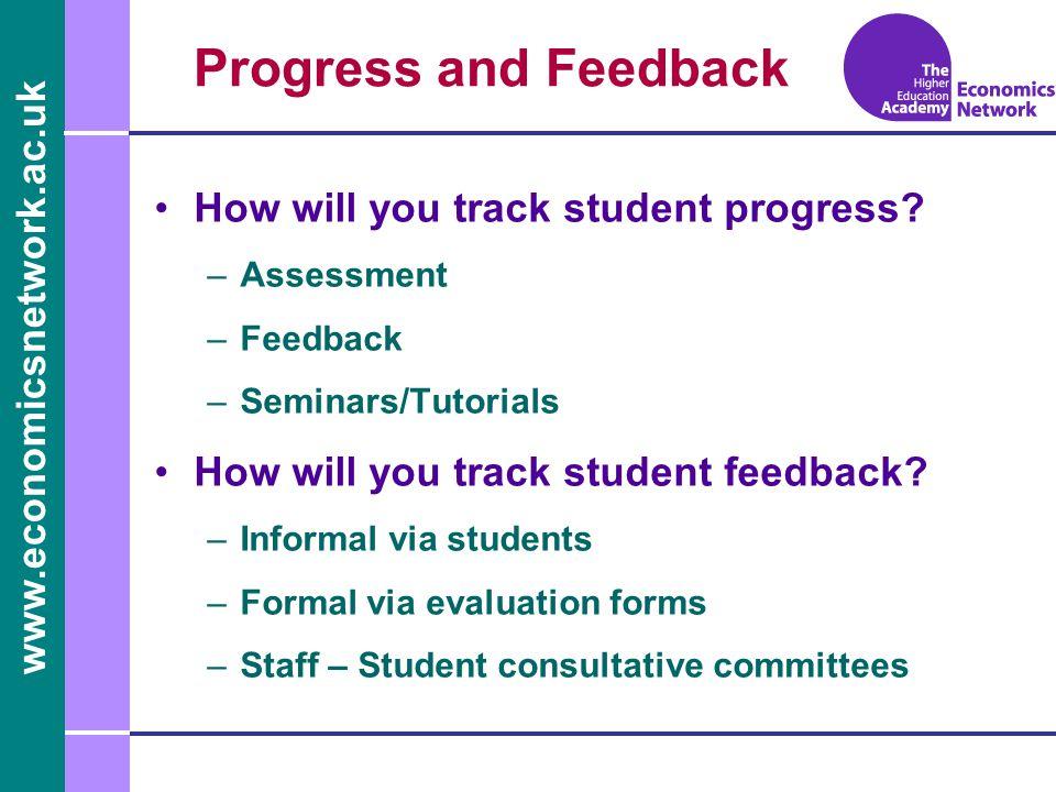 www.economicsnetwork.ac.uk www.economics.ltsn.ac.uk Progress and Feedback How will you track student progress? –Assessment –Feedback –Seminars/Tutoria