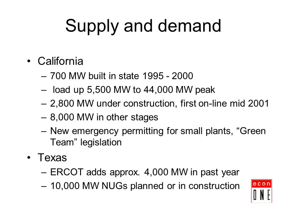 Supply and demand California –700 MW built in state 1995 - 2000 – load up 5,500 MW to 44,000 MW peak –2,800 MW under construction, first on-line mid 2