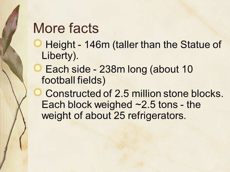More facts Height - 146m (taller than the Statue of Liberty). Each side - 238m long (about 10 football fields) Constructed of 2.5 million stone blocks