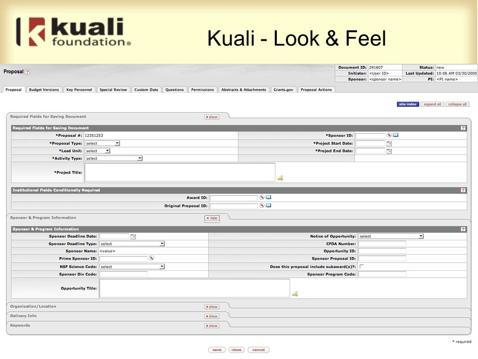 Kuali - Look & Feel