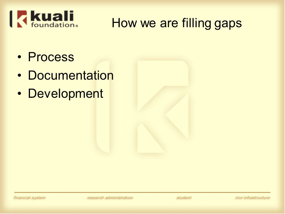 How we are filling gaps Process Documentation Development