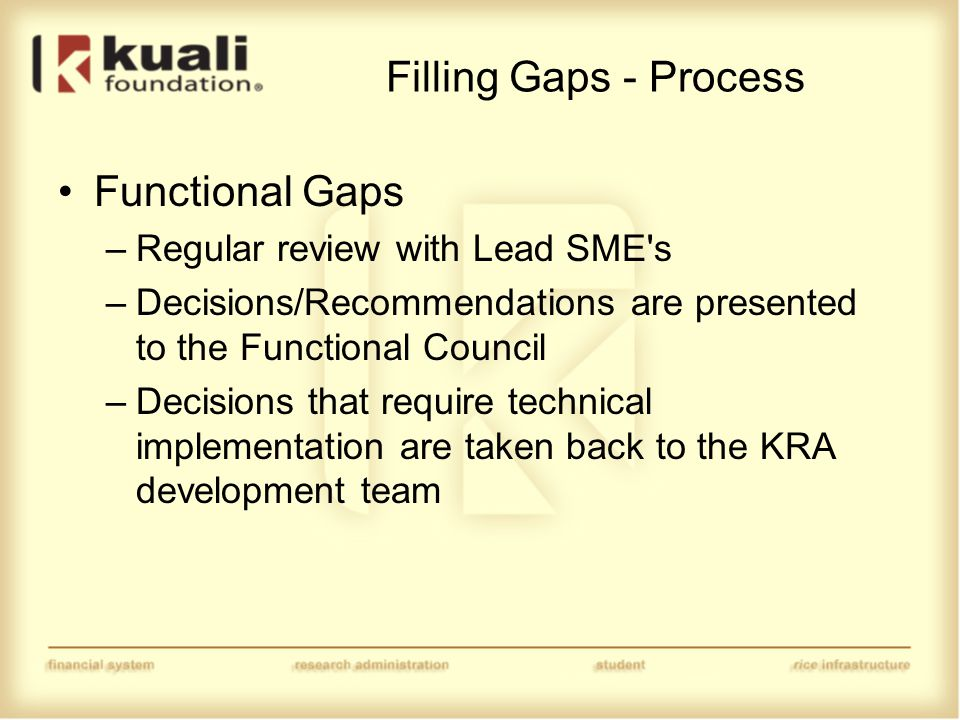 Filling Gaps - Process Functional Gaps –Regular review with Lead SME s –Decisions/Recommendations are presented to the Functional Council –Decisions that require technical implementation are taken back to the KRA development team