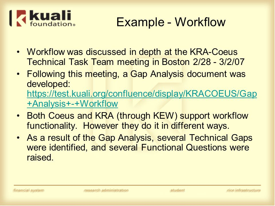 Example - Workflow Workflow was discussed in depth at the KRA-Coeus Technical Task Team meeting in Boston 2/28 - 3/2/07 Following this meeting, a Gap Analysis document was developed: https://test.kuali.org/confluence/display/KRACOEUS/Gap +Analysis+-+Workflow https://test.kuali.org/confluence/display/KRACOEUS/Gap +Analysis+-+Workflow Both Coeus and KRA (through KEW) support workflow functionality.