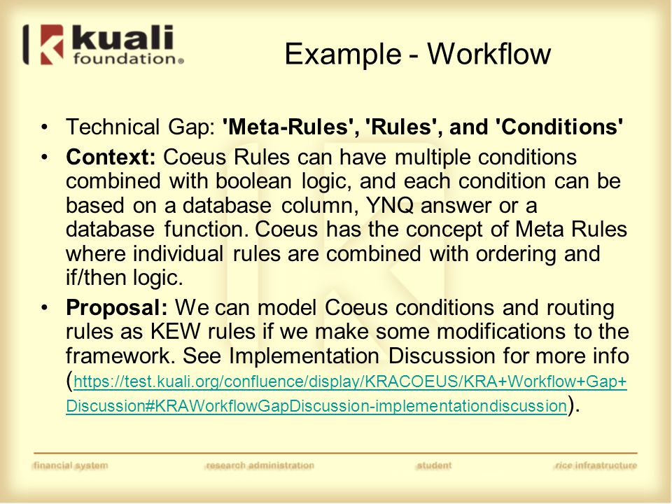 Example - Workflow Technical Gap: Meta-Rules , Rules , and Conditions Context: Coeus Rules can have multiple conditions combined with boolean logic, and each condition can be based on a database column, YNQ answer or a database function.