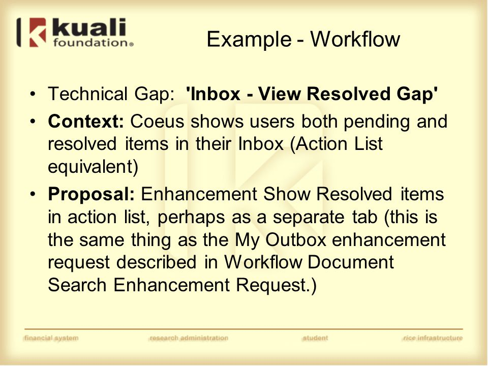 Example - Workflow Technical Gap: Inbox - View Resolved Gap Context: Coeus shows users both pending and resolved items in their Inbox (Action List equivalent) Proposal: Enhancement Show Resolved items in action list, perhaps as a separate tab (this is the same thing as the My Outbox enhancement request described in Workflow Document Search Enhancement Request.)