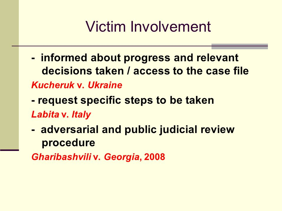 Victim Involvement - informed about progress and relevant decisions taken / access to the case file Kucheruk v.