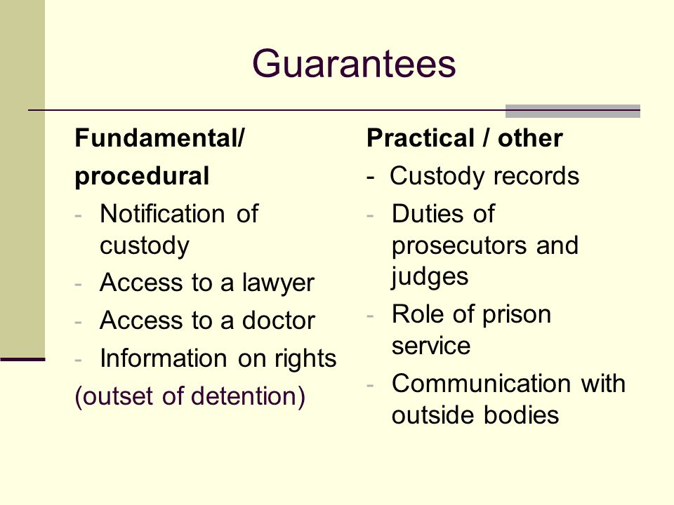 Guarantees Fundamental/ procedural - Notification of custody - Access to a lawyer - Access to a doctor - Information on rights (outset of detention) Practical / other - Custody records - Duties of prosecutors and judges - Role of prison service - Communication with outside bodies