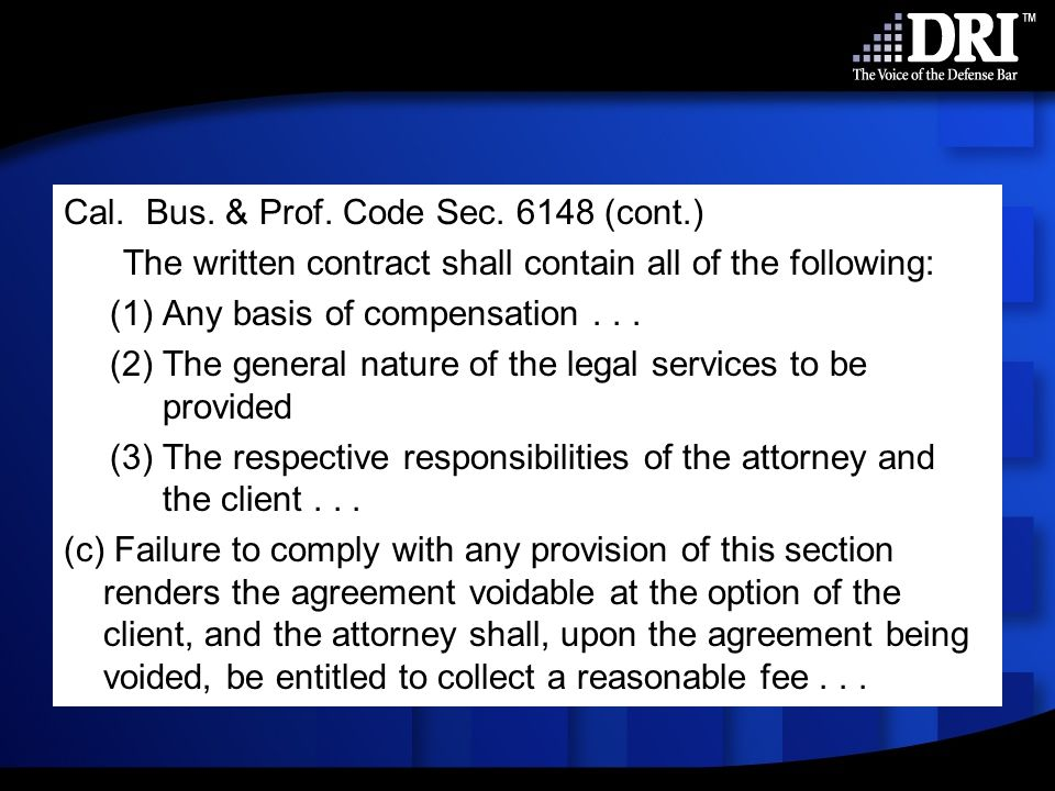 Section 6148 does not apply to corporate clients.