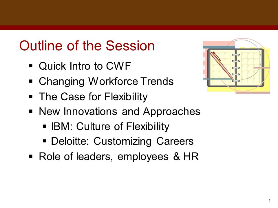 Dr. Brad Harrington, ©2011 Outline of the Session  Quick Intro to CWF  Changing Workforce Trends  The Case for Flexibility  New Innovations and Ap