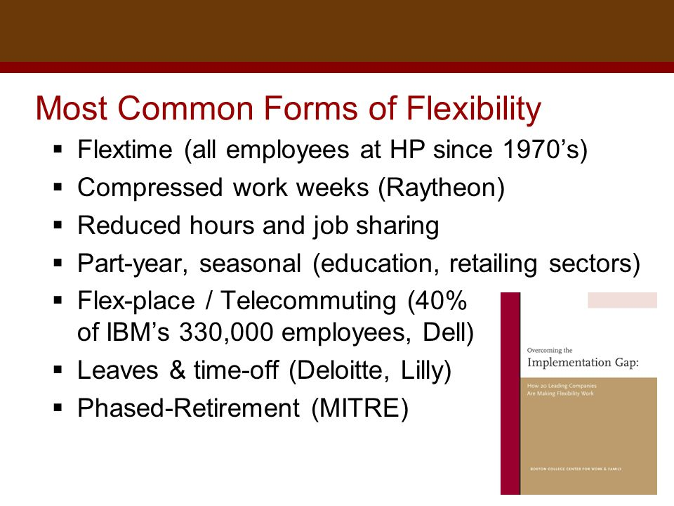 Dr. Brad Harrington, ©2011 Most Common Forms of Flexibility  Flextime (all employees at HP since 1970's)  Compressed work weeks (Raytheon)  Reduced