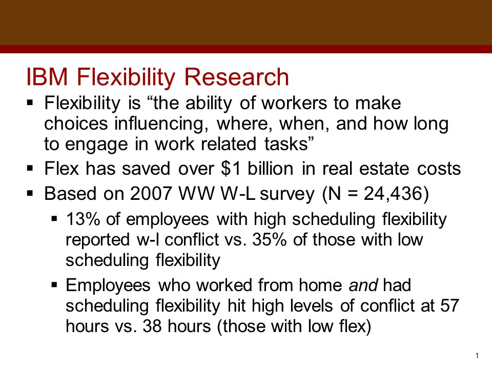 """Dr. Brad Harrington, ©2011 IBM Flexibility Research  Flexibility is """"the ability of workers to make choices influencing, where, when, and how long to"""