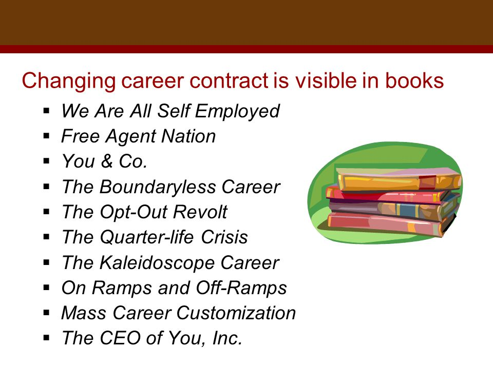 Dr. Brad Harrington, ©2011 Changing career contract is visible in books  We Are All Self Employed  Free Agent Nation  You & Co.  The Boundaryless