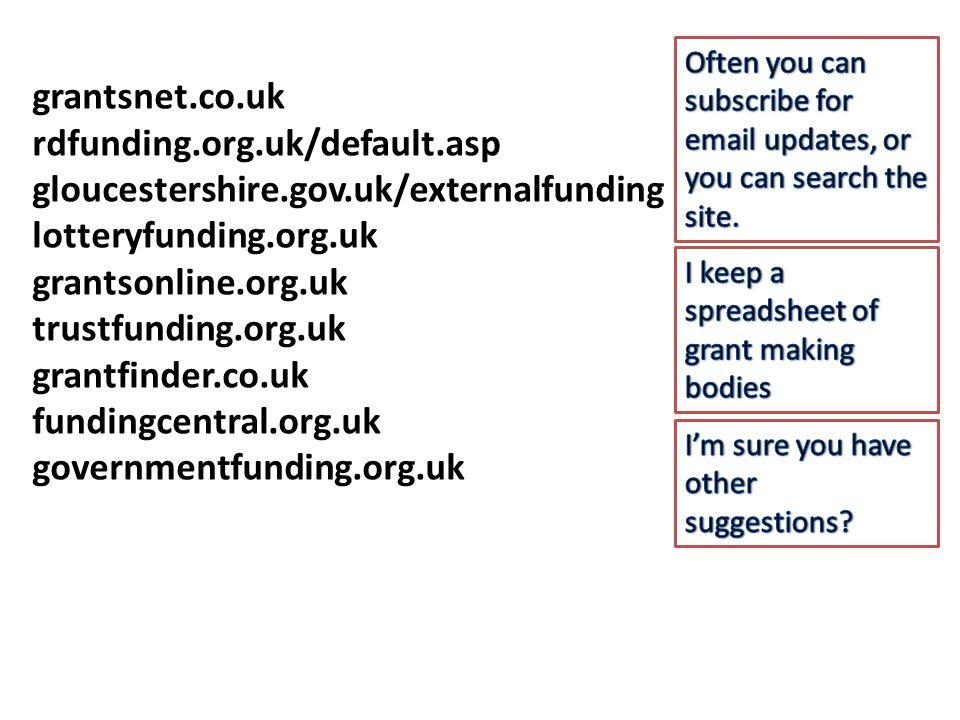 grantsnet.co.uk rdfunding.org.uk/default.asp gloucestershire.gov.uk/externalfunding lotteryfunding.org.uk grantsonline.org.uk trustfunding.org.uk grantfinder.co.uk fundingcentral.org.uk governmentfunding.org.uk