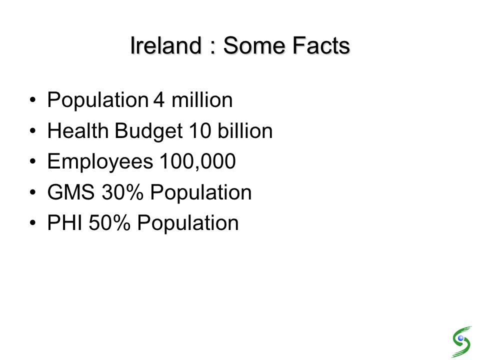 Ireland : Some Facts Population 4 million Health Budget 10 billion Employees 100,000 GMS 30% Population PHI 50% Population