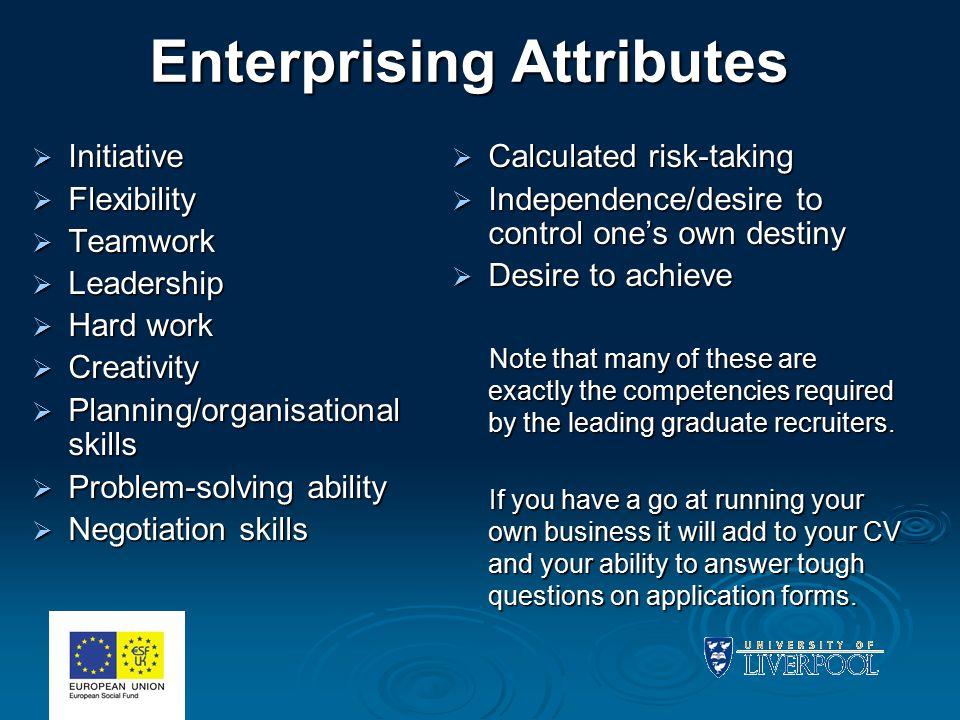 Enterprising Attributes  Initiative  Flexibility  Teamwork  Leadership  Hard work  Creativity  Planning/organisational skills  Problem-solving