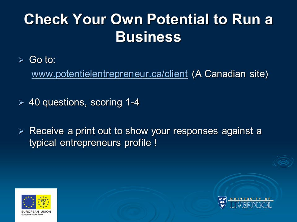 Check Your Own Potential to Run a Business  Go to: www.potentielentrepreneur.ca/client (A Canadian site) www.potentielentrepreneur.ca/client (A Canadian site)www.potentielentrepreneur.ca/client  40 questions, scoring 1-4  Receive a print out to show your responses against a typical entrepreneurs profile !