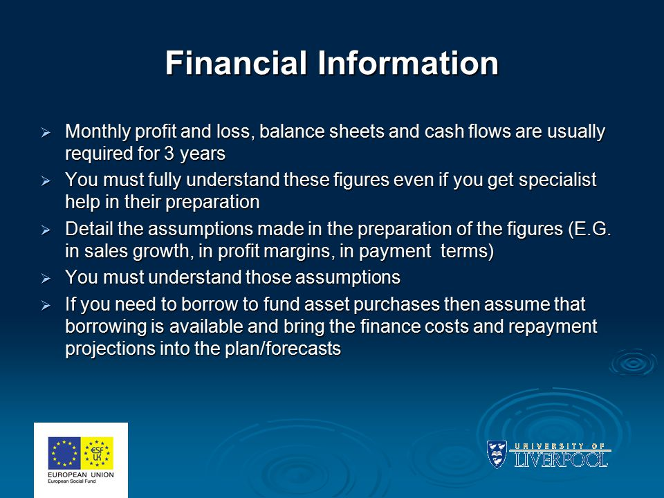 Financial Information  Monthly profit and loss, balance sheets and cash flows are usually required for 3 years  You must fully understand these figu
