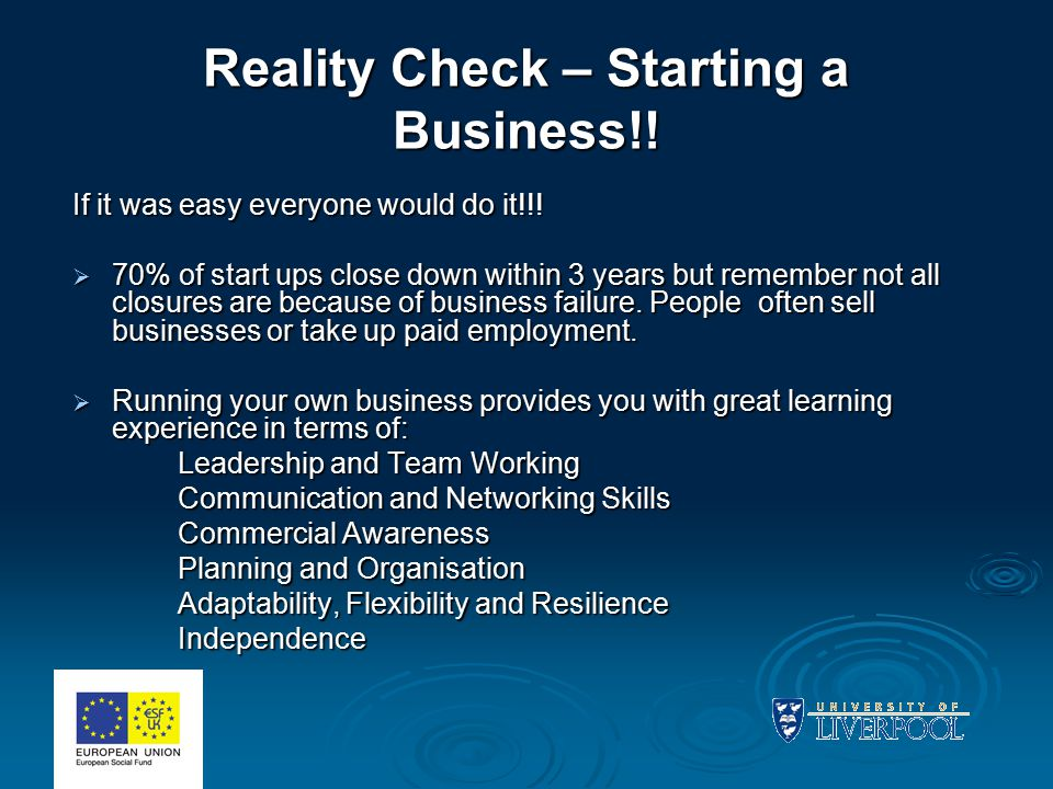 Reality Check – Starting a Business!. If it was easy everyone would do it!!.