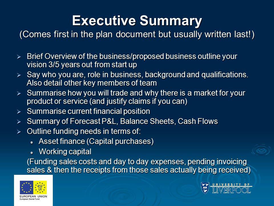 Executive Summary (Comes first in the plan document but usually written last!)  Brief Overview of the business/proposed business outline your vision 3/5 years out from start up  Say who you are, role in business, background and qualifications.