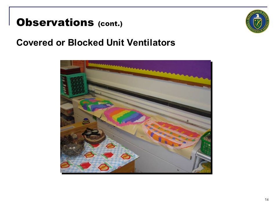 14 Observations (cont.) Covered or Blocked Unit Ventilators