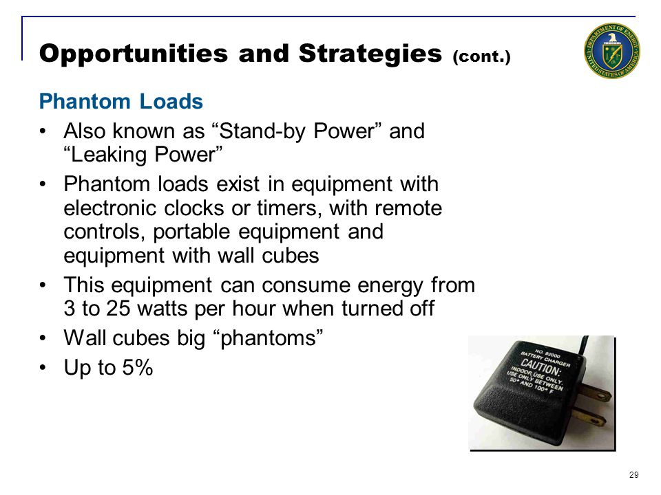 29 Opportunities and Strategies (cont.) Phantom Loads Also known as Stand-by Power and Leaking Power Phantom loads exist in equipment with electronic clocks or timers, with remote controls, portable equipment and equipment with wall cubes This equipment can consume energy from 3 to 25 watts per hour when turned off Wall cubes big phantoms Up to 5%
