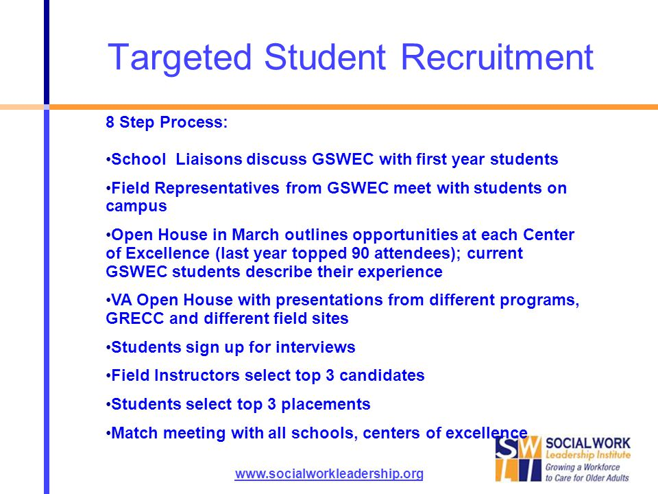 Targeted Student Recruitment www.socialworkleadership.org 8 Step Process: School Liaisons discuss GSWEC with first year students Field Representatives